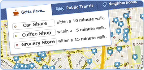 rental search results near coffee shops and grocery stores screenshot