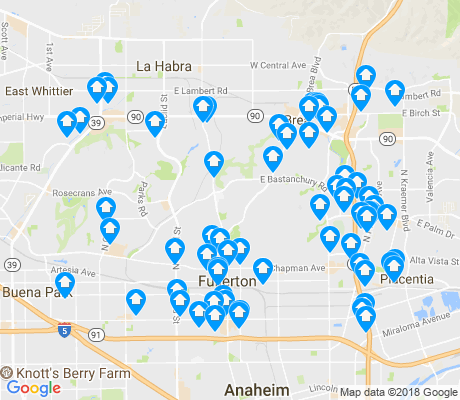 map of Fullerton apartments for rent