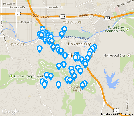 map of Cahuenga Pass apartments for rent