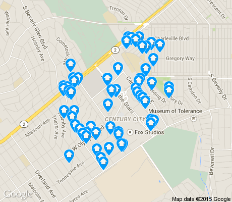 map of Century City apartments for rent