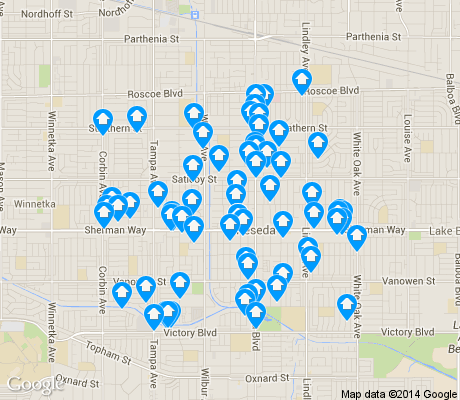 map of Reseda apartments for rent
