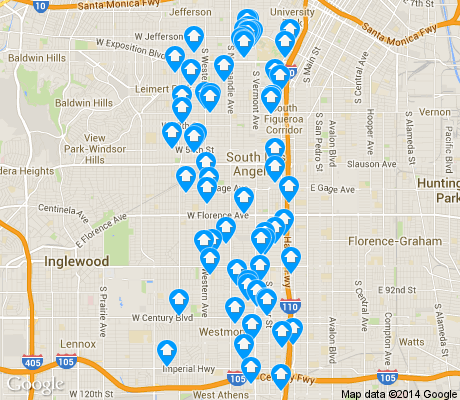 map of South Los Angeles apartments for rent