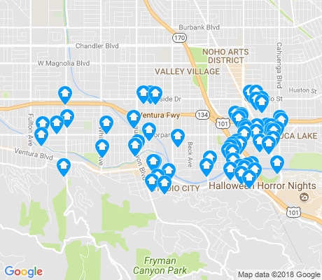 map of Studio City apartments for rent