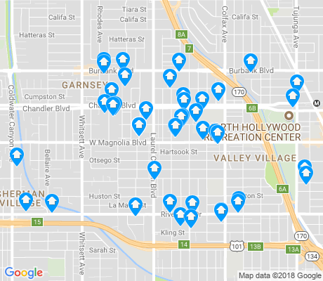 map of Valley Village apartments for rent