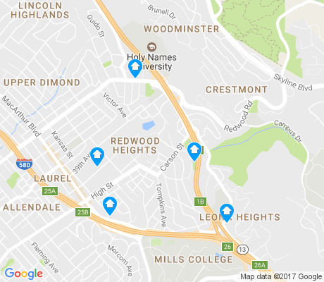 map of Redwood Heights apartments for rent