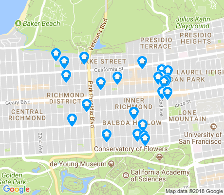 map of Inner Richmond apartments for rent