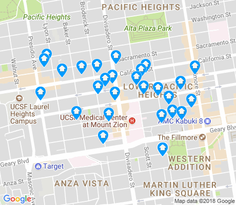 map of Lower Pacific Heights apartments for rent