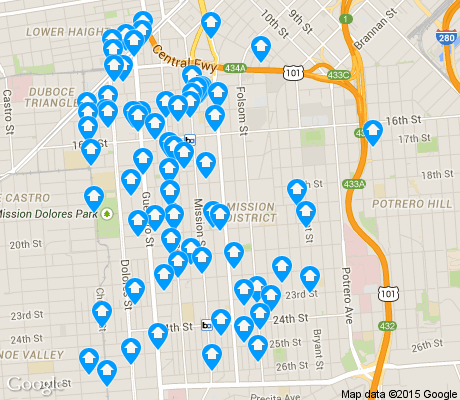 map of Mission apartments for rent