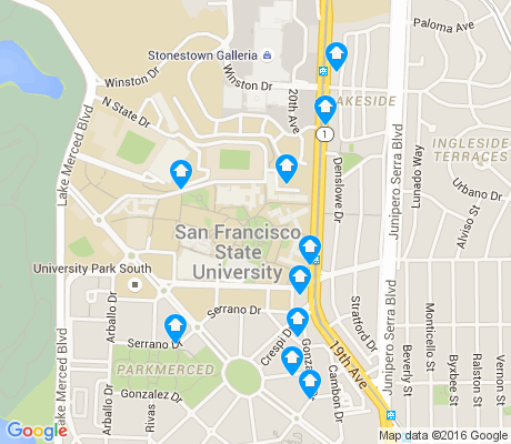 map of Stonestown apartments for rent