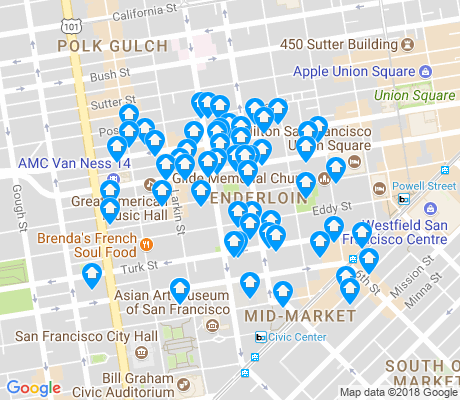 map of Tenderloin apartments for rent