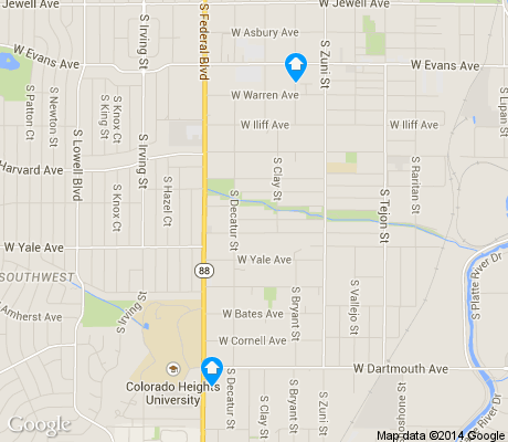 map of College View / South Platte apartments for rent