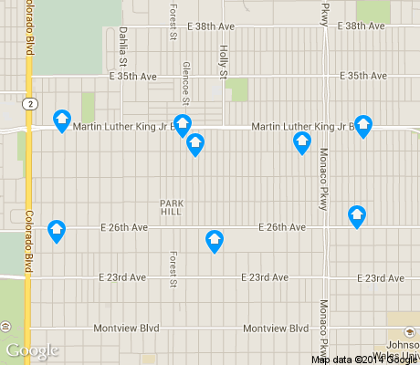 map of North Park Hill apartments for rent