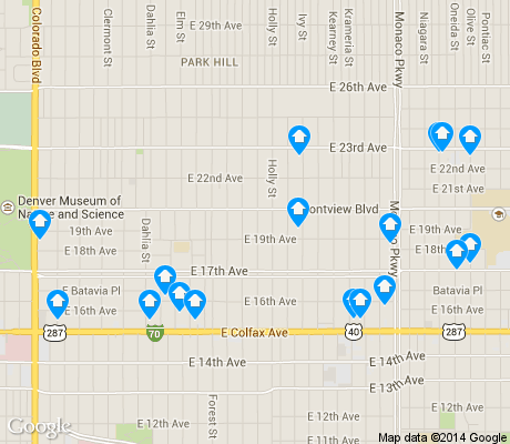 map of South Park Hill apartments for rent