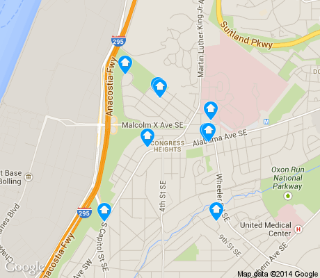 map of Congress Heights apartments for rent