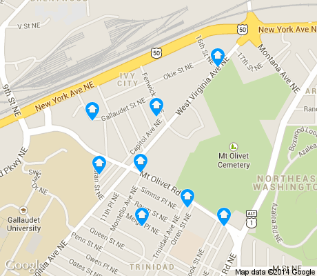 map of Ivy City apartments for rent