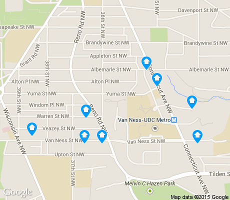 map of North Cleveland Park apartments for rent