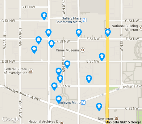 map of Penn Quarter apartments for rent