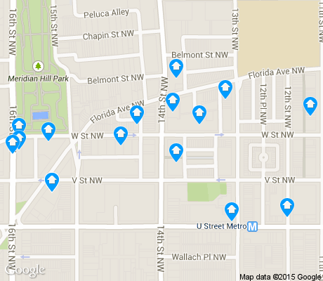 map of U Street Corridor apartments for rent
