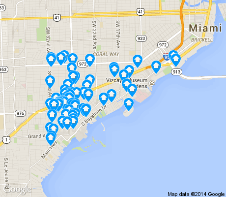 map of North/East Coconut Grove apartments for rent