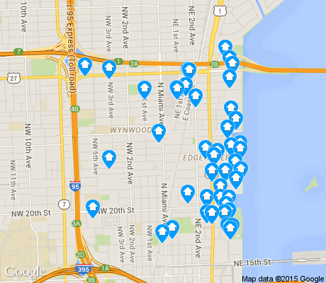map of Wynwood / Edgewater apartments for rent