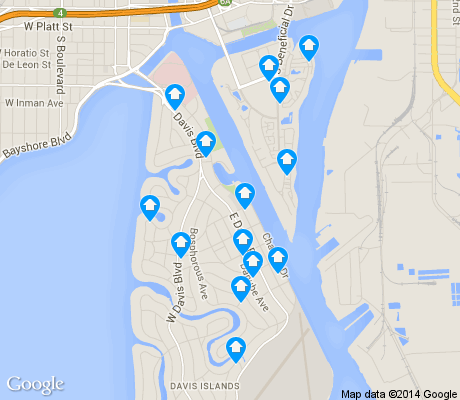 map of Davis Island apartments for rent
