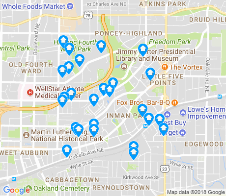 map of Inman Park apartments for rent