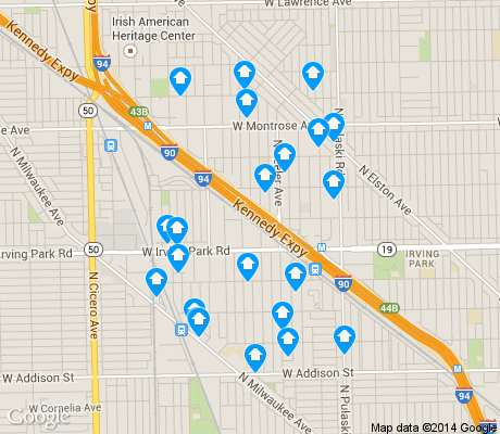 map of Old Irving Park apartments for rent