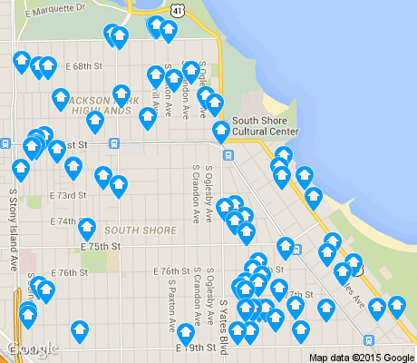 map of South Shore apartments for rent