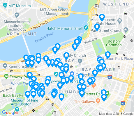 map of Back Bay apartments for rent
