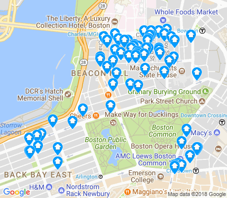 map of Beacon Hill apartments for rent
