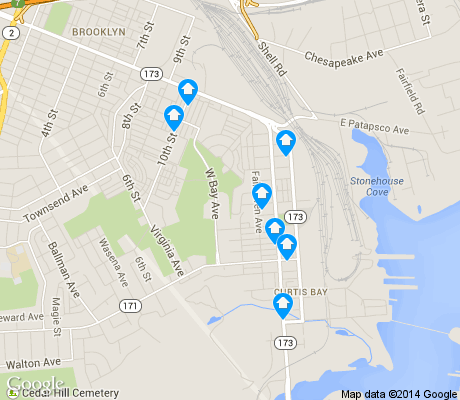 map of Curtis Bay apartments for rent