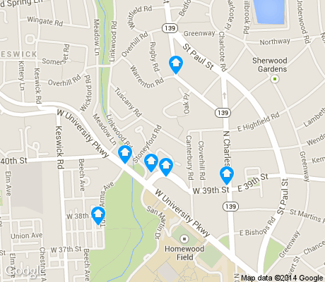 map of Guilford apartments for rent
