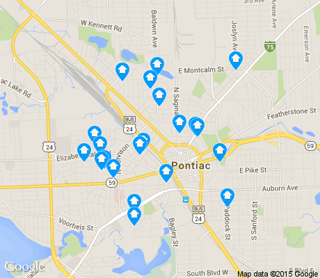 map of Pontiac apartments for rent