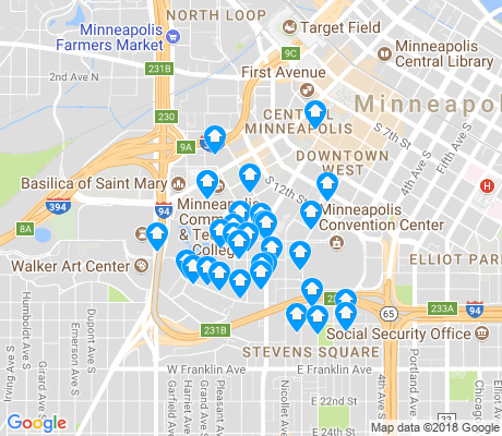 map of Loring Park apartments for rent