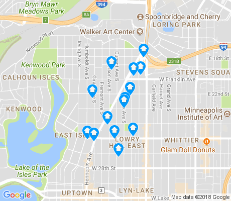 map of Lowry Hill East apartments for rent