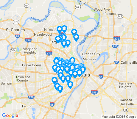 map of St. Louis apartments for rent