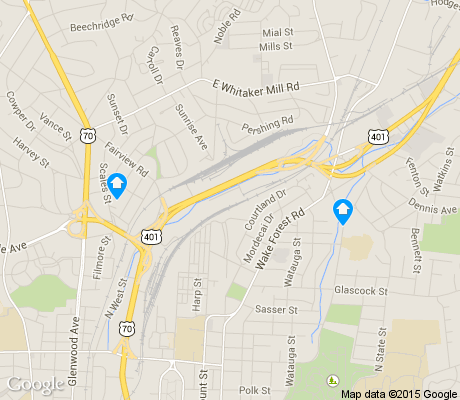 map of Mordecai apartments for rent