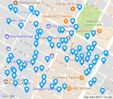 map of Flatiron District apartments for rent