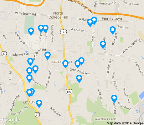 map of College Hill apartments for rent