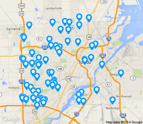 map of Toledo apartments for rent