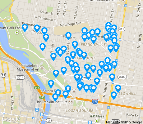 map of Fairmount/Spring Garden apartments for rent