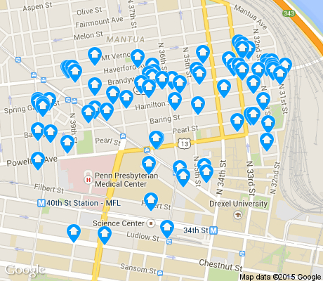 map of Powelton apartments for rent