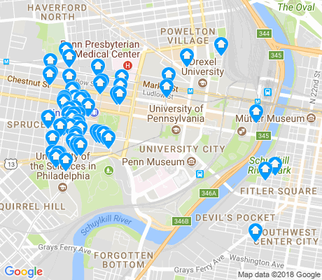 map of University City apartments for rent