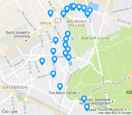 map of Wynnefield apartments for rent