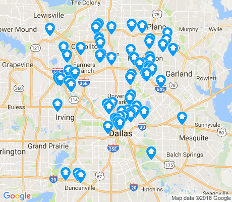 map of Dallas apartments for rent