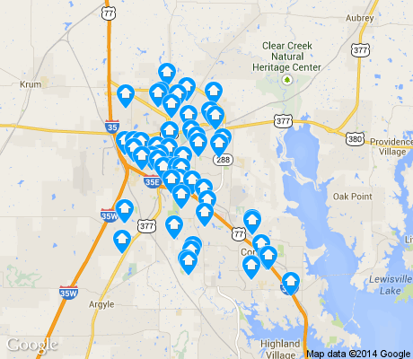 map of Denton apartments for rent