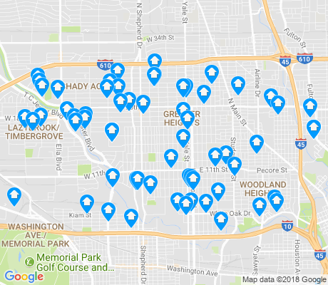map of Greater Heights apartments for rent