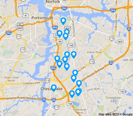 map of South Norfolk apartments for rent
