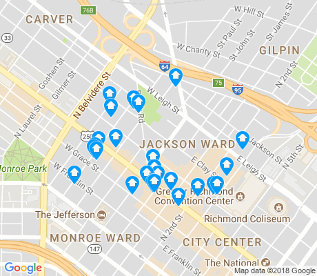 map of Jackson Ward apartments for rent