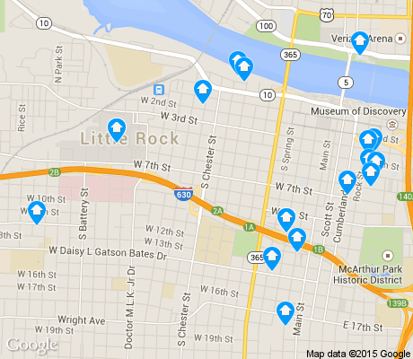 map of Downtown CBD apartments for rent